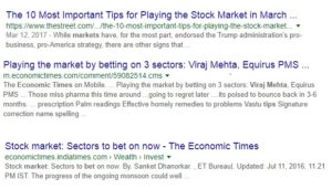 Google search results for playing the market